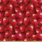 ABAKUHAUS rot Satin Stoff als Meterware, Erdbeeren Reife