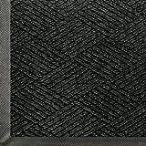 WaterHog Eco Premier | Commercial-Grade Entrance Mat with Diamond Pattern & Rubber Border | Indoor/Outdoor, Quick-Drying, Stain Resistant Door Mat (Black Smoke, 3x5)