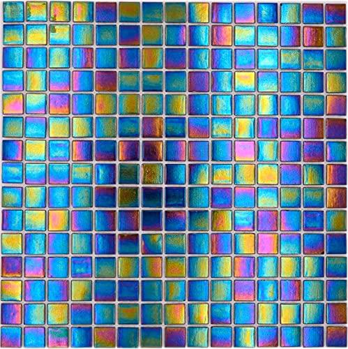 Mosaico de mosaico de nácar, cristal brillante, negro iridio.