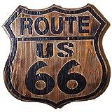 ビンテージ木製看板 ルート66アメリカンウッドサインボード (MEDIUM)