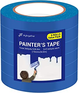 Blue Painter's Tape, Multi-Surface Masking Tape, 14 Day Easy Removal Trim Edge Finishing Blue Painting Tape, 3/4 inch by 60 Yards, 6 Rolls by Skytogether