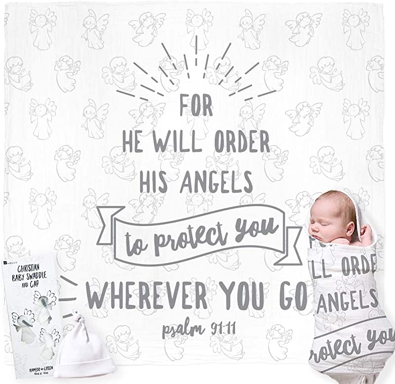 Christian Baby Swaddle Bible Quote Blanket And Cap Gift Set Integrated Card With Welcoming Prayer For Christening Baptism Shower Sentimental Receiving Blanket Boy Girl Gift Card Not Required