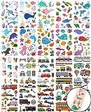 KINBOMás De 250 Tatuajes Temporales para Niños Adhesivos Impermeables para Automóviles y Camiones Vehículos Animales Marinos Adhesivos para Tatuajes Suministros para Fiestas para Niños / Niñas