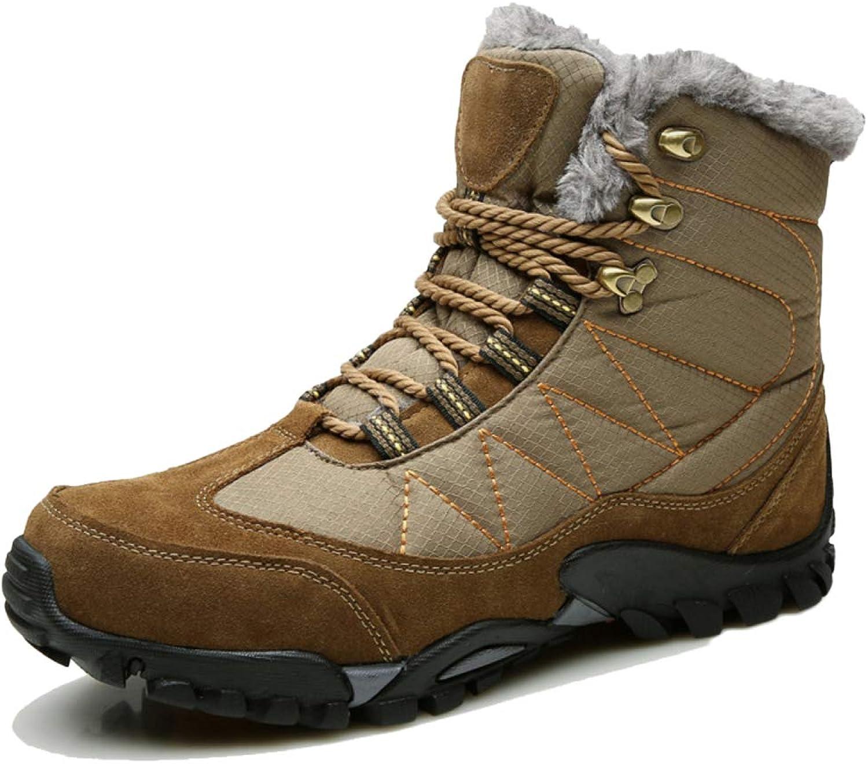 Snfgoij Snow Boots Mens Waterproof Winter Boots Snowshoes Trekking Lace Up Non-Slip High-top Sneakers Wear-Resistant Outdoor