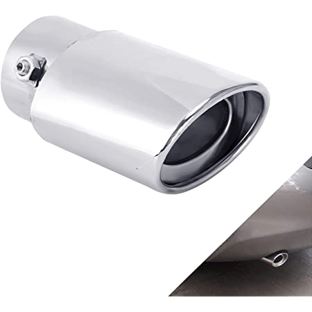 Universel Car 63MM Exhaust Muffler Pipe Tip Stainless Steel Curved End Tail #D