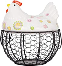 YARNOW Chicken Egg Basket for Egg Storage Ceramic and Iron Decorative Basket with Chicken Design Farmhouse Kitchen Decor