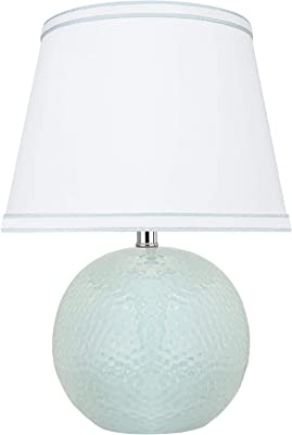"Aspen Creative, Light Blue 40193-11, 15"" High Transitional Ceramic Table Hardback Empire Shaped Lamp Shade in White, 10"" Wide"