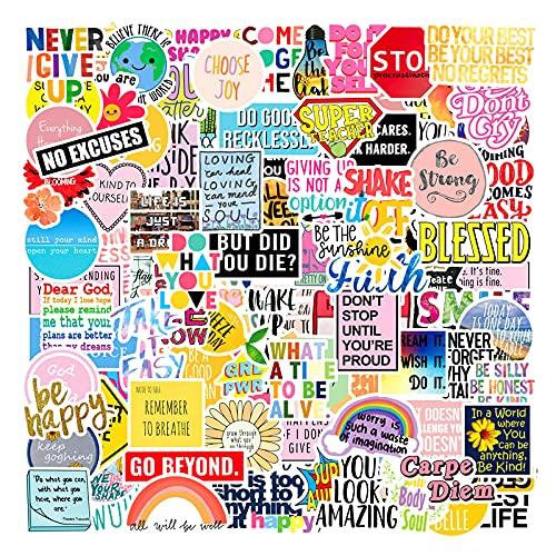 HENJIA 105 Pezzi di Colore di Ispirazione Testo Graffiti Adesivo Tazza d'Acqua Adesivo Bagaglio incolla Adesivo per Auto Adesivo per Bambini