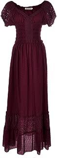 Renaissance Peasant Maiden Boho Inspired Cap Sleeve Lace Trim Dress
