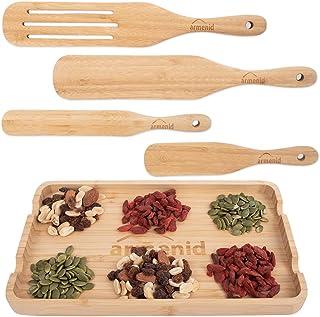 مجموعه وسایل آشپزی آشپزخانه Spurtle - چاشنی های چوبی بامبو که در تلویزیون با وسایل استراحت دیده می شود - مقاوم در برابر حرارت اسپاتول بدون شکاف 5 عدد برای هم زدن سر و صدا پخش شدن با سوراخ های آویزان