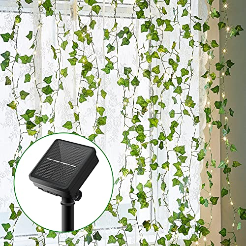Lichterkette Außen, Künstlicher Efeu Lichterkette 100LED 10M/32Ft 8 Modi Solar Lichterkette Aussen für Garten, Bäume, Terrasse, Weihnachten, Hochzeiten, Partys (Warmweiß) Solarlampen für Außen