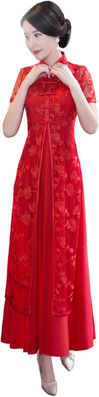 Shanghai Story Vietnamese AoDai Dress Folk Style Long Cheongsam Qipao