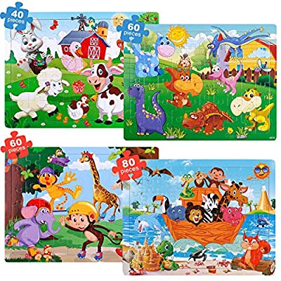 GINMIC Puzzles for Kids Ages 4-8, 4 Pack Colorful Wooden Jigsaw Kids Puzzles 40-80 Pieces Preschool Educational Learning Toys Set for Toddlers, Boys and Girls