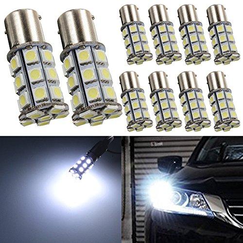 TABEN Blanc P21/5W 1157 BAY15D 7528 2057 2357 1016 5050 36-SMD LED Ampoules Lumière 6000K Super Brillant Clignotant Backup Reverse Camper RV Lumières 12V (Pack de 10)