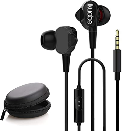 WeCool Mr.Bass W005 High Stereo Bass Dual Driver in-Ear Sport Wired Earphones with Mic for Mobile + Free Carry Case (Black)