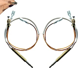 2 Pcs Universal Thermocouple Patio Heater Parts, 350 mm/13.8 inch Patio Heater Replacement Parts, M8 x 1 End Connection Nuts Thermocouple M6 x 0.75 Head Thread 4.8 mm/ 0.19' Flat Terminal