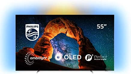 Televisor Philips Ambilight 55OLED803/12 Smart TV de 139 cm (55 pulgadas) con 4K UHD, P5 Perfect Picture Engine, Ultra HD Premium, 99 % Wide Color Gamut y Android TV, color plata