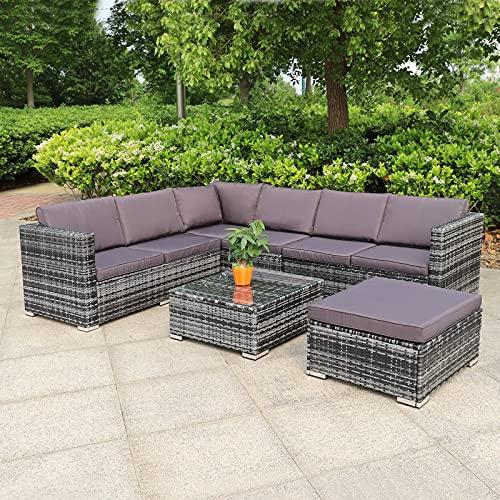 Hansson Polyrattan Gartenmöbel Lounge Set Sitzgruppe Garnitur Poly Rattan inkl. Sofa Sessel Kissen Hocker Tisch mit Glas (3xDoppelsofa (1xlinks, 2xrechts), 1xTisch & Hocker)