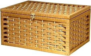 ZAIZAI Boîte de Rangement en Papier de Panier tissé, Organisation à la Maison à la Main avec Couvercle et Dessus de Table ...
