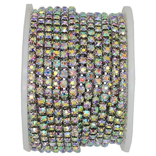 10 Yard Crystal AB Rhinestone Close Chain Clear Trim Sewing Craft (3mm, Silver)