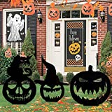 MALLMALL6 3Pcs Halloween Silhouette Yard Stake Pumpkin Face Waterproof Acrylic Stakes Witch Hat Black Cat Scary Party Supplies Trick or Treat Lawn Floor Stakes for Outdoor Garden Farmhouse Decorations