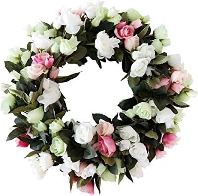 Artificial Rose Wreath 19inch Simulation Flower Front Door Home Wall Hanging Party Wedding Decor