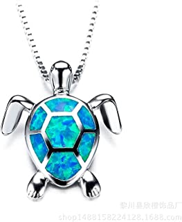 SFQRYP 2021 Fashion 925 Sterling Silver Filled Green Fire Opal Turtles Necklaces Pendants Animal Jewelry Women Gifts (Gem ...
