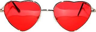 Stylish Heart Shaped Metal Frame Aviator Colored Lens Sunglasses