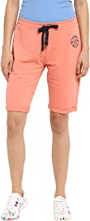 KVL Women's Regular Fit Solid Jogger Shorts - (Orange)