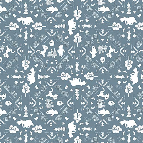 Disney Winnie The Pooh Fabric Wonder and Whimsy Silhouette Lace in Blue Premium Quality Cotton Fabric by The Yard
