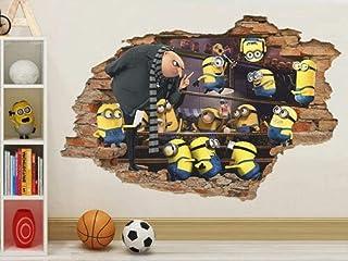 ملصق حائط بتصميم Despicable Me 3D ملصق جداري ليتل مان أصفر قابل للإزالة