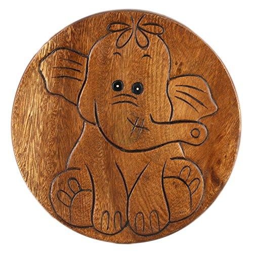 ART-CRAFT KH047 Kinderhocker Holz Schemel mit Tiermotiv Elefant Natur und beschnitzt Höhe 27 cm