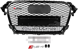 Gorgeri Car Front Bumper Grille,Sport Hex Mesh Honeycomb Hood Gloss for A4/S4 B8.5 13-16,RS4 Style(for RS4 Quattro Style)