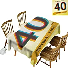 Barbecue Long Tablecloth W50 x L80 40th Birthday Vintage Style Graphic Banner Party Invitation Theme Optical Striped Design Multicolor Great for Family Outdoors Restaurant Party Wedding Coffee Bar t