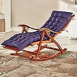 ADSE Silla para Acampar, reclinable para Acampar, sillones, Mecedora Plegable de Madera para balcón Silla con Respaldo Ajustable de bambú con reposacabezas y Masaje de pies Tumbonas al Aire Libre