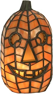 Jack-O-Lantern Pumpkin Stained Glass Halloween Accent Table Lamp