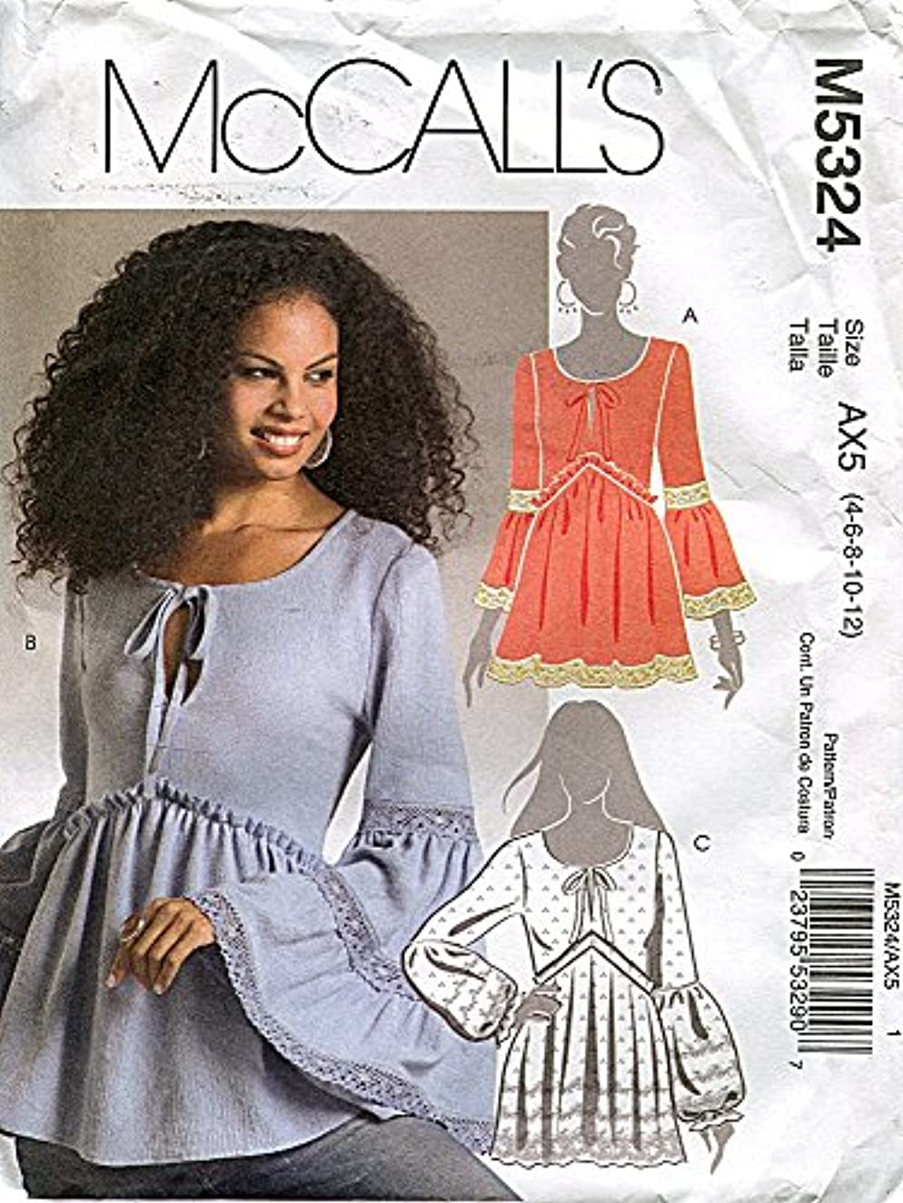 McCall's Pattern 5324 - Misses Tops - Size AX5 (4, 6, 8, 10,12)