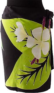 (ラナイブルー) 高品質な手染めのパレオ ショート ハーフ タヒチアン フラ プルメリア 3色