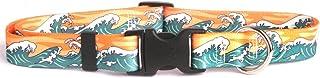 "Yellow Dog Design Mystic Waves Orange Dog Collar, Medium-3/4 Wide fits Neck Sizes 14 to 20""/4"" Wide"