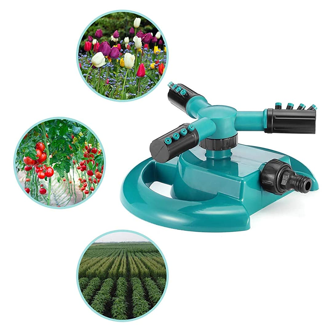 寓話否定する否定する庭用灌漑ノズル 自動庭の芝生のスプリンクラー360度3アーム回転スプリンクラーテラスの植物の水まきシステム 節水で使いやすい (色 : 緑, Size : Ones)