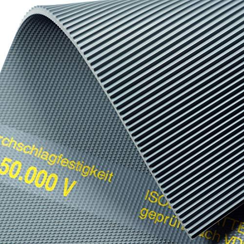 Isoliermatte 50.000 Volt | 4,5mm | 2m² 1,0 x 2,0m [Größe wählbar] VDE 0303 Gummimatte | Feinriefenmatte
