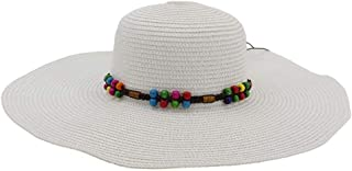 Vadeytfl Female Straw Hat Summer Sun Hat Visor Wide Brim Beach Hat (Color : White)