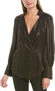 BCBGMAXAZRIA womens Metallic Drape Front Top Shirt