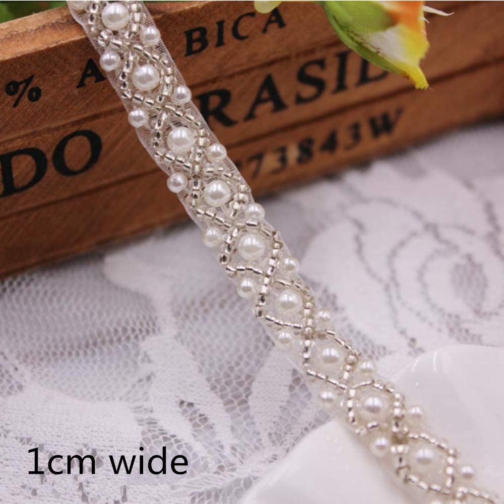 Rhinetones Trim for Dress Crystal Beaded Applique for Bridal Wedding Bridal Applique Party and Other Formal Occasions FQTANJU 3Yards Rose Gold Beaded Crystal Rhinestone Applique
