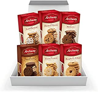 Archway Cookie Bundle: Iced Oatmeal, Oatmeal Raisins, Molasses, Dutch Cocoa, Raspberry Filled, Frosty Lemon 6 Pack