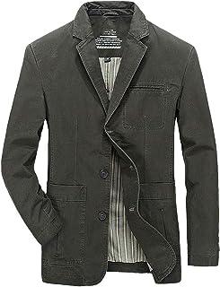 Luckyoung Men's Casual Lapel Three Button Blazer Jacket Cotton Twill Suit Sport Coat