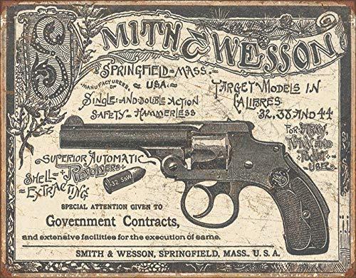 Kama Smith & Wesson - Cartel de estaño con el logotipo de la cueva de hombre (hombre Garaje Colt Henry Winchester Magnum 44)