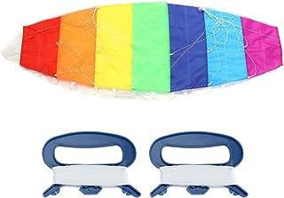 Zerodis Stor dubbellinje fallskärm, regnbågsfärg stuntkraft flygande drake utomhus dubbla linjer surfing parafoil rolig st...