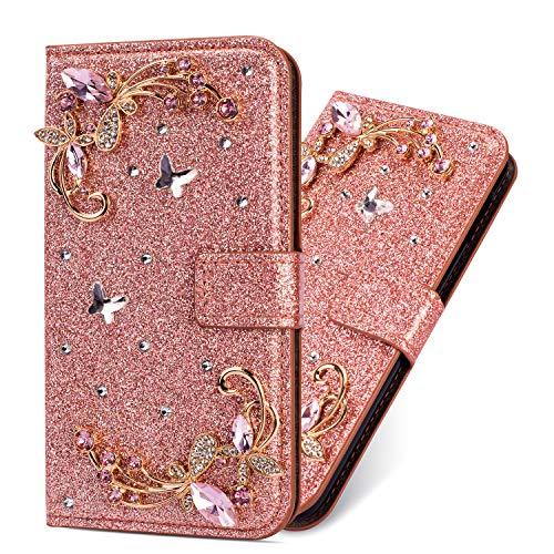 Slim Bling Flip für Samsung S9 Plus,Bookstyle Stand Funktion Ledertasche Musterg Diamond Sparkle Glitter Glitzer Karteneinschub Magnetverschluss Wallet Hülle Schutzhülle