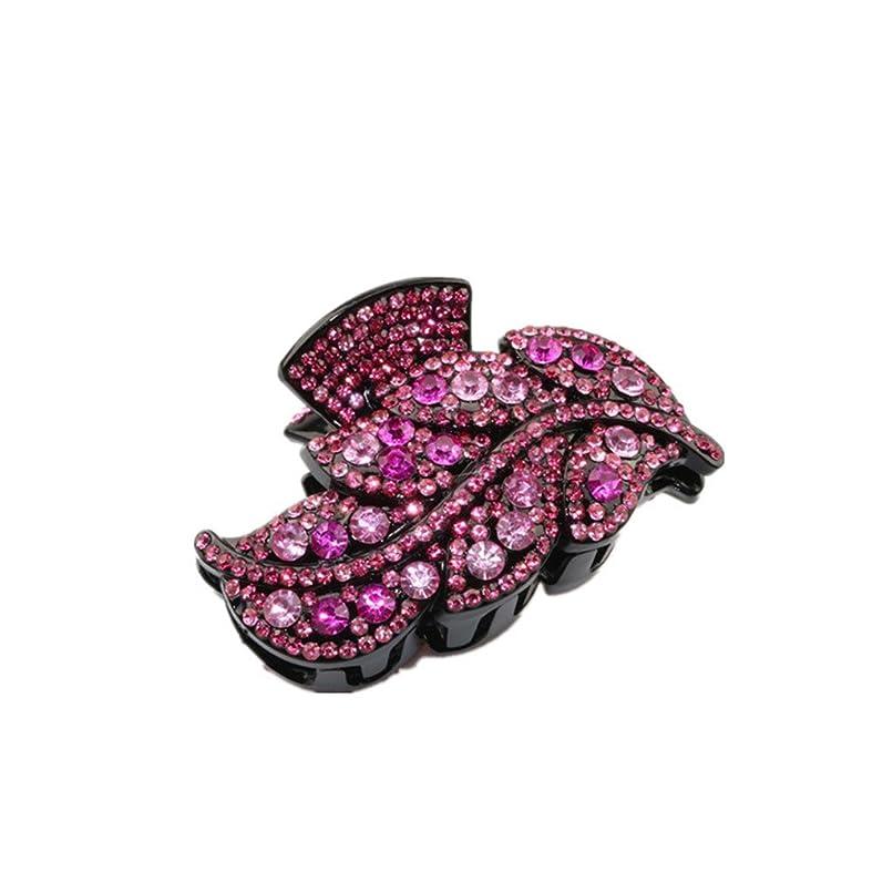 柔和美容師前文Perfk アクリル キラキラ ヘアクリップ シンプル ラインストーン 葉型  髪飾り 全6色  - ローズレッド1